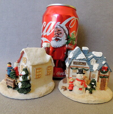 Christmas House CHRYSTAL VILLAGE Miniature Richmond Bedford Retired Lot of 2