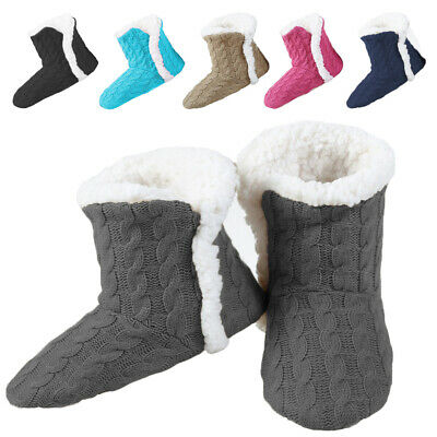 Yelete Women's Cable Knit Slippers House Booties Soft Sherpa Lining Rubber Soles Cable Knit Slipper Boots
