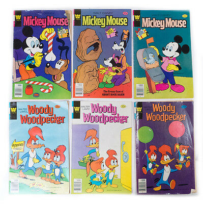 Lot Of 6 Vintage Whitman Mickey Maus & Woody Woopecker Comic Bücher 1978, 1979 ()