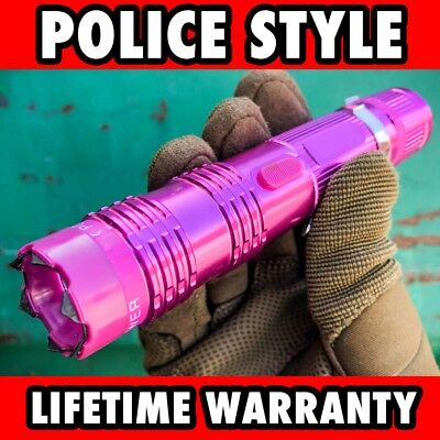 "6"" Military POLICE Tactical 300MV Stun Gun Rechargeable LED Flashlight PINK NEW"