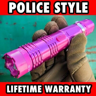 """6"""" Military POLICE Tactical 300MV Stun Gun Rechargeable LED Flashlight PINK NEW"""