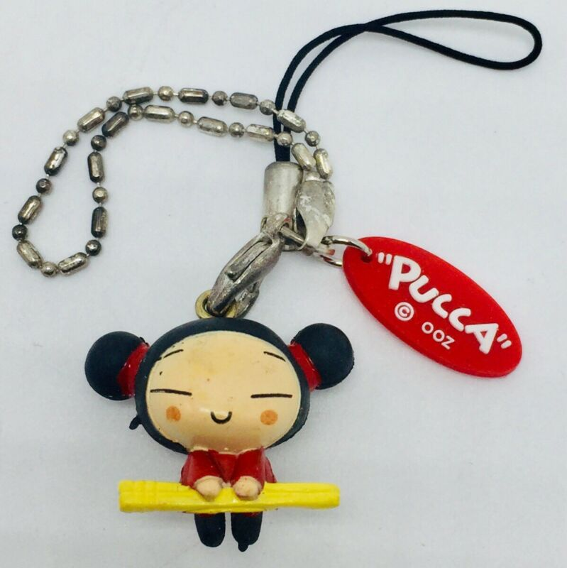 PUCCA Charm Figurine 3D Vooz Korean Anime Cute Cell Phone Key Chain Purse Dangle