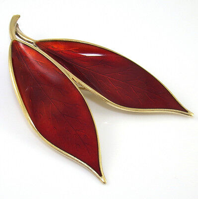 Sterling Silver David Andersen Red Enamel Large Double Leaf Pin Brooch