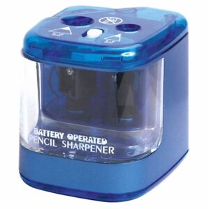 Jakar Blue Double Hole Pencil Sharpener Desktop Electric Battery Main Operated
