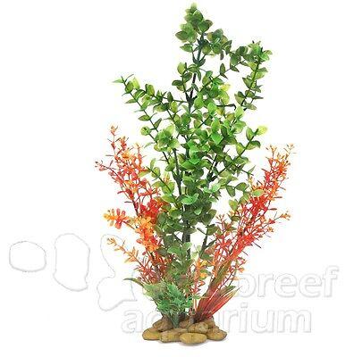 "Green Bacopa Weighted Cobblestone Base Plastic Aquarium Plant Zan 15"""