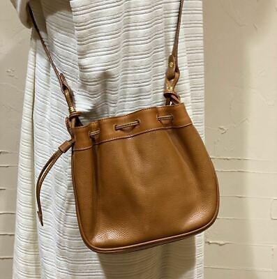 GUCCI Authentic OLD Shoulder Bag Crossbody Leather Vintage Drawstring Type BRN