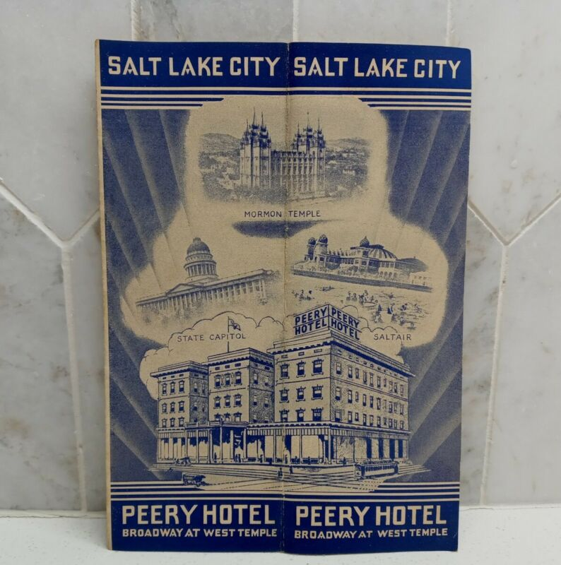 Vintage SALT LAKE CITY UTAH -Hotel Perry Advertising- Map Of City-Mormon Temple