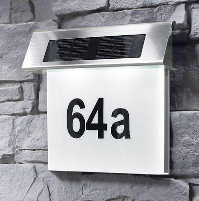 Solar Hausnummer + LED Beleuchtung Hausnummerleuchte Solarleuchte Edelstahl SH2