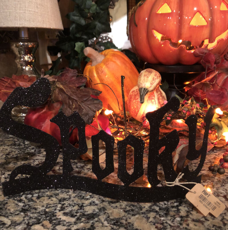 NEW/Halloween Black Glitter SPOOKY Sign Tabletop Home Decor From Pier One~Rare!