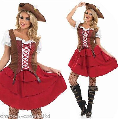 Damen Sexy Piraten Hen Do Halloween Kostüm Kleid Outfit 8-30 - Übergröße Damen Piraten Kostüm