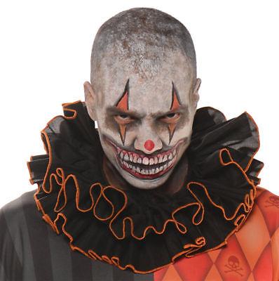 Clown Collar (Clown Collar Black Orange Ruffled Adult Jester Halloween Costume Accessory)