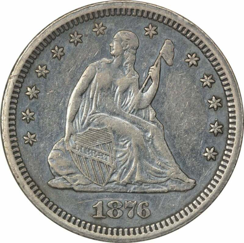 1876-CC Liberty Seated Quarter, EF, Uncertified