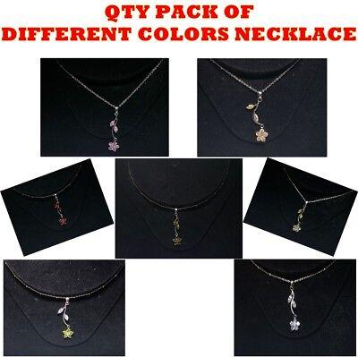 Delicate Small Flower w/ Leaf Diamond Pendant Chain Fashion Jewellery Necklace Diamond Fashion Flower Pendant