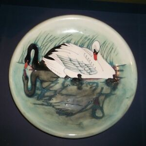 large white & black swan /cygnets a modern Moorcroft Plate Approx. 26cm dia