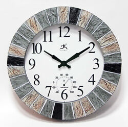 Slate Faux 13 inch Indoor/Outdoor Decorative Wall Clock with Thermometer Gauge