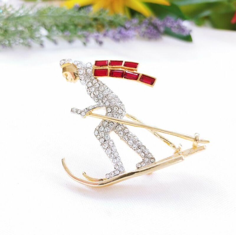 W) vintage Skiier Ski Winter Sport Red Baguette Rhinestone Scarf Gold Brooch Pin