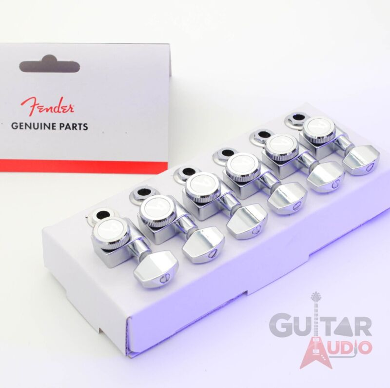 Genuine Fender CHROME LOCKING Tuners 6-InLine 2-pin Strat/Tele F Logo Machines