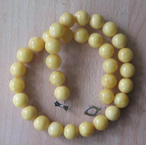 RARE 53 gr. GENUINE BUTTERSCOTCH EGG YOLK AMBER BEADS NECKLACE Yellow Honey Fine