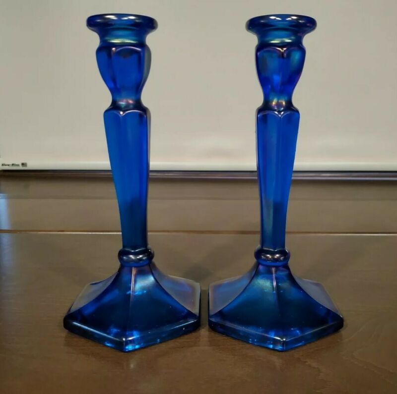 Vintage Carnival Glass Set of Candlesticks - Iridescent Blue