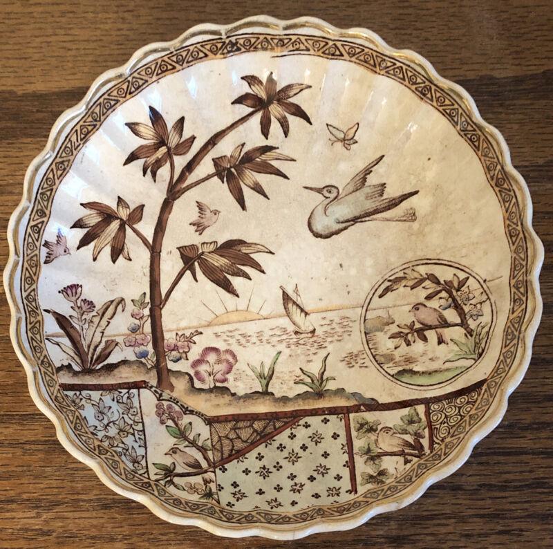 Antique E.M&Co TonQuin Aesthetic Period Brown Transferware Bowl Birds Rising Sun