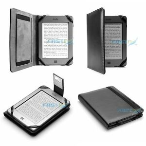 PREMIUM BLACK PU LEATHER KINDLE TOUCH / 4 WiFi CASE COVER WALLET WITH SLIM LIGHT