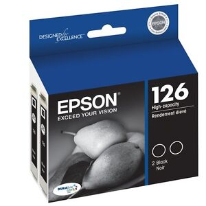 2 pack Epson 126 Genuine Black ink T126120-D2 Cartridge WorkForce 840 845 60 435