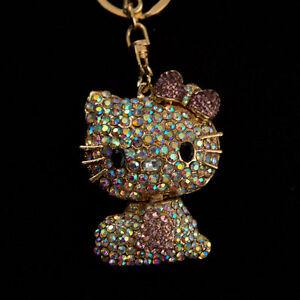 Rainbow Hello Kitty w/ Pink Heart & Bow Rhinestone Keychain Swarovski Cute Gold