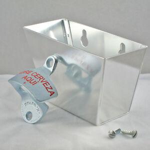 ABRE-CERVEZA-AQUI-Combo-Wall-Mount-Bottle-Opener-and-Metal-Cap-Catcher-Set-NEW