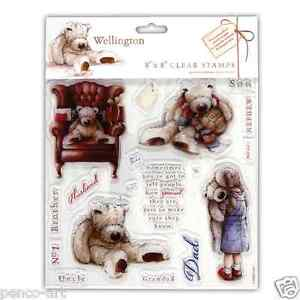 Docrafts-clear-Wellington-bear-stamps-set-of-18-Male-relations-dad-uncle-etc