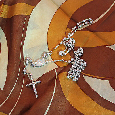 Sterling Silver 925 Mens Rosary Chain, Cross And St.maria Necklace Italy 24