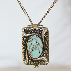 Unique antique gold tone vintage style double bird locket necklace