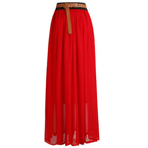 Women Lady Retro Long Maxi Pleated Skirt Elastic Waist Band Chiffon Gypsy Dress