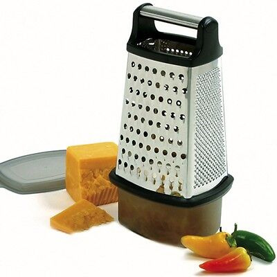 Norpro 325 Cheese Grater 4 Sided With Catcher And Lid 18/10 Stainless Steel on Sale