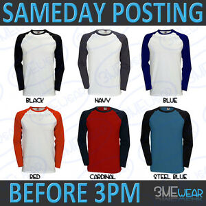 LONG-SLEEVE-BASEBALL-T-SHIRT-100-COTTON-PLAIN-BLANK