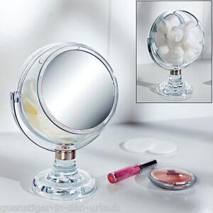 kosmetikbox wattekugel mit spiegel 5 fach vergr erung kosmetikaufbewahrung ebay. Black Bedroom Furniture Sets. Home Design Ideas