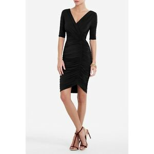BCBG-MAXAZRIA-WOMENS-EVERT-V-NECK-RUCHED-DRESS