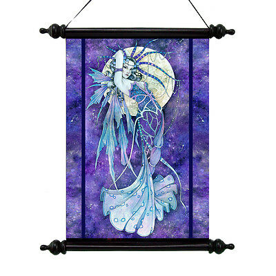 Once In A Blue Moon Fairy Scroll Tapestry Mystical Wall Hanging