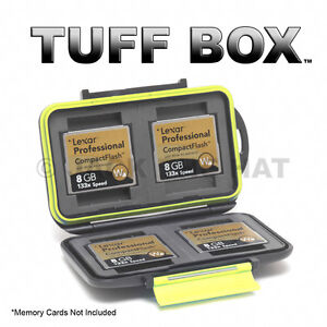TUFF BOX Compact Flash Memory Card Case. Holds 4 CF Cards. Water & Shock Resist