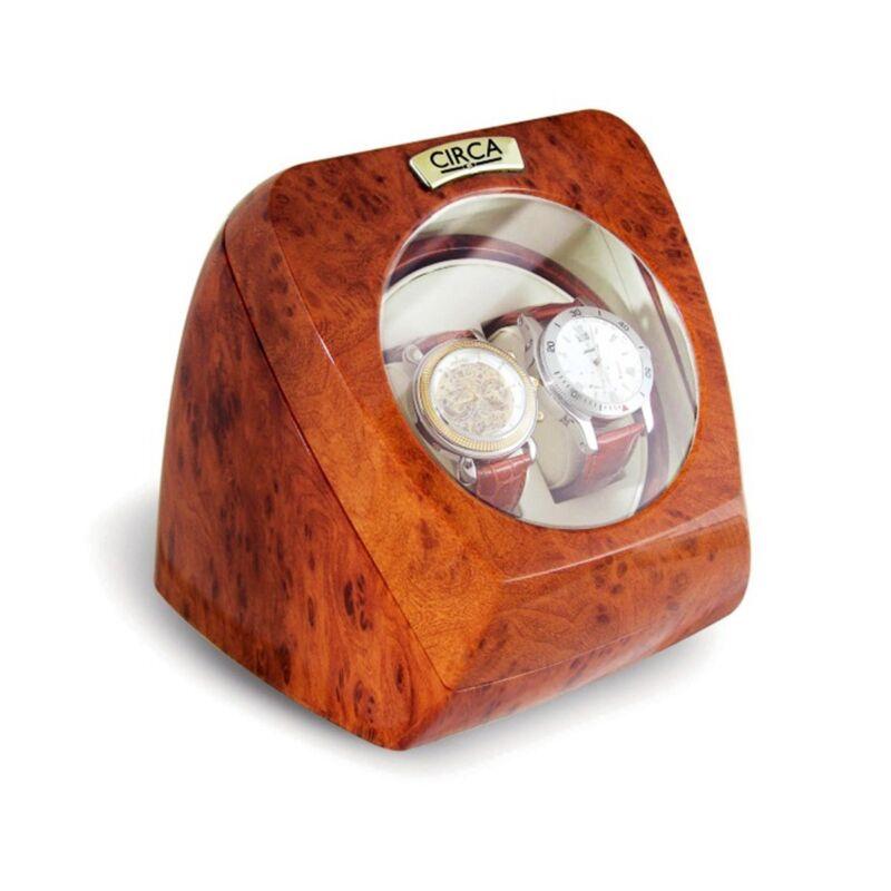 CIRCA Burl Wood Finish Double Watch Winder Box Off White Leather 4 Settings