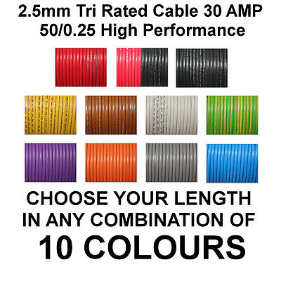 3m RED 2.5mm 30A 12v AUTO CABLE CAR WIRING LOOM WIRE AUTOMOTIVE MARINE BOAT