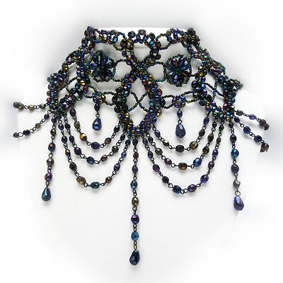 Iridescent Black Glass Beaded Victorian Bib Style Lace Necklace & Earrings Set