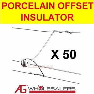 PORCELAIN OFFSET OUTRIGGER INSULATOR 50PK - USE WITH ELECTRIC FENCE WIRE & POLY