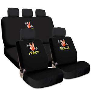 NEW FUN PEACE DESIGN EMBROIDERY CAR TRUCK SUV SEAT COVERS