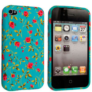 PINK FLOWER  FLORAL  PRINT ON GREEN SILICONE CASE COVER FOR APPLE IPHONE 4 4S