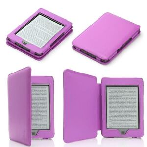 PURPLE GENUINE LEATHER CASE COVER FOR AMAZON KINDLE TOUCH WiFi / 3G 6