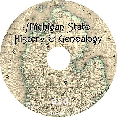Michigan History & Genealogy {33 Family Tree Research Books} on DVD