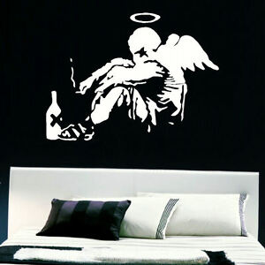 Large banksy fallen angel bedroom giant wall art mural for 8 sheet giant wall mural