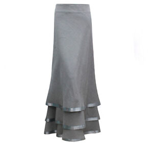 ELEGANT-LADIES-FULL-LENGTH-TIERED-40-LONG-SKIRT-SIZE-10-12-14-16-18-20-22