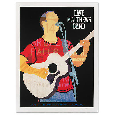 2012 DAVE MATTHEWS BAND GORGE NIGHT 2 DAVE SILHOUETTE 12 CONCERT POSTER  9/1