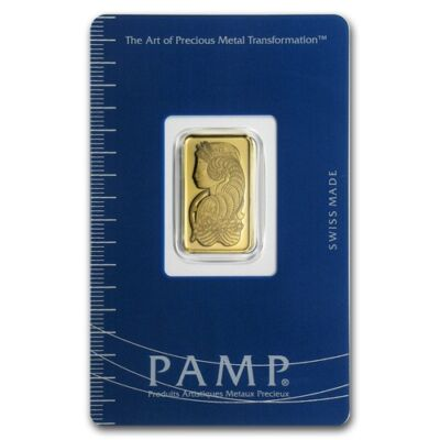 5 gram Pamp Suisse Gold Bar - Lady Fortuna - In Assay Card - SKU #19043